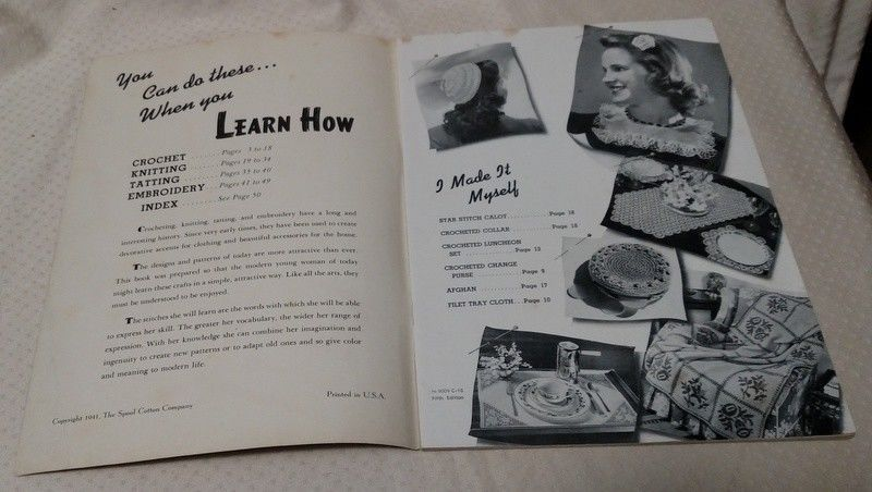 LEARN HOW BOOK CROCHETING, KNITTING, TATTING & EMBROIDERY 1941