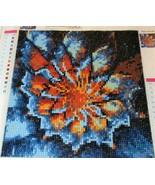 FINISHED 5D Diamond Painting BLUE ORANGE FLOWER Modern 9x9inch unframed - $8.90