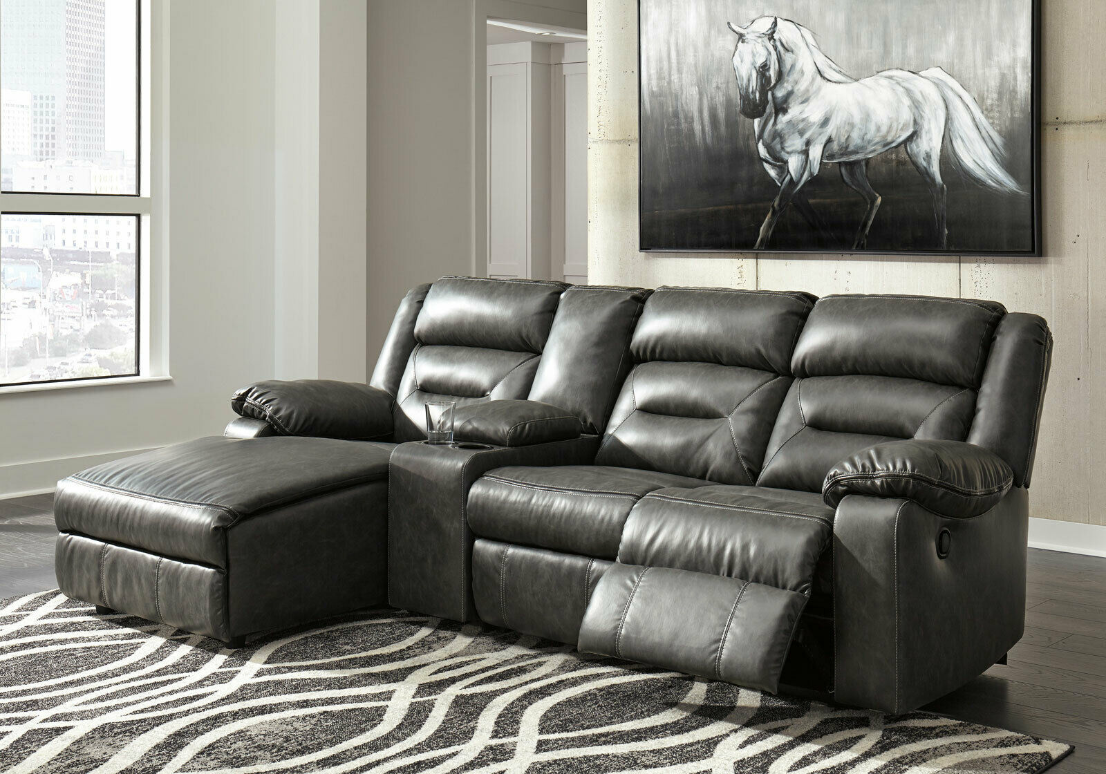 4 piece Sectional Gray Faux Leather Reclining Sofa Chaise ...