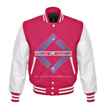 Pink Varsity Baseball Genuine Leather Sleeve Letterman College  Men Wool... - $94.99
