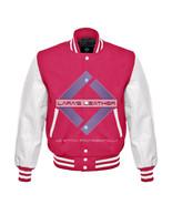 Pink Varsity Baseball Genuine Leather Sleeve Letterman College  Men Wool... - $94.99