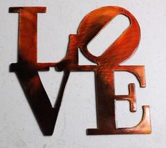 "Love ""Boxed "" Orange Metal Wall Art Decor - $9.89"