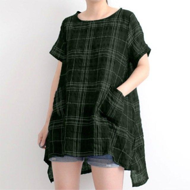 ZANZEA Summer Women Plaid Check O Neck Short Sleeve Pockets Loose Casual Blouse