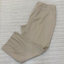 Lane Bryant Dress Pants Khaki Striped Size 22 Wide Leg Cotton Textured - $16.14