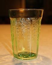 Green Depression Vaseline Juice Glass Tumbler A. Hocking Princess 1930's - $14.40