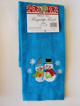 Snowman Hand Towel, Embroidered, Blue Fingertip, Holiday Christmas Velour image 2