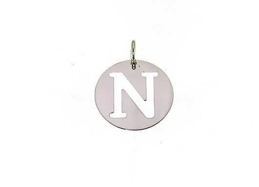 18K WHITE GOLD ROUND MEDAL WITH INITIAL N LETTER N MADE IN ITALY DIAMETER 0.5 IN