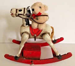 1979 Enesco Wooden Musical Rocking Horse Toy Land with Teddy Bear - $34.64