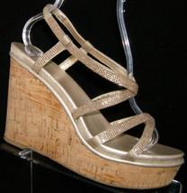 Nine West jeweled strappy elasic slingback cork platform wedge heels 10M - $29.60