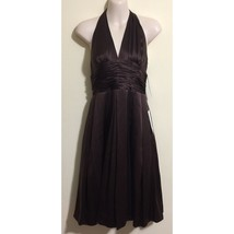 Adrianna Papell Sz 6 Brown Silk Halter Dress - $89.09