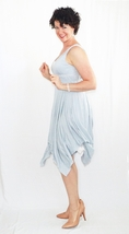 Blue Wrapped Bodice Dress with Ivory Slip Dress, Handkerchief Hem, Lace Trim