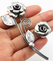 925 Sterling Silver - Vintage Bouquet Of Flower Brooch Pin - BP2192 - $39.92