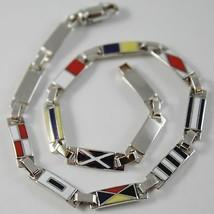 Bracelet White Gold 750 18K, Flags Nautical 3.5 mm, Glazed Tiles, Made i... - $1,010.43