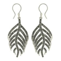 925 Sterling Silver Cute Feather Dangling Black Spinel Leaf Earring - $29.80