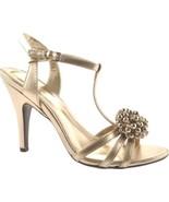 NEW Calvin Klein Rajah Metallic Light Gold Strappy Heels w/ Beaded Toe sz 8 - $30.49