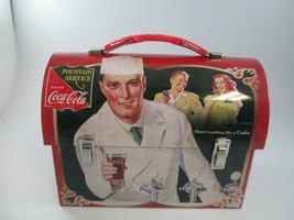 Coca-Cola Workman Tin Lunch Box Red Fountain Service Retro Carry - $10.64