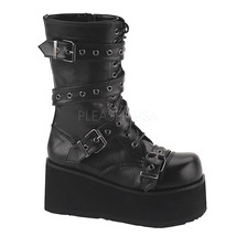 DEMONIA TRA205/B/PU Men's Gothic Punk Black Platform Mid Ankle Boots Wra... - £74.24 GBP