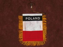 """POLAND FLAG MINI BANNER 4""""x6"""" CAR WINDOW MIRROR NEW - $3.95"""