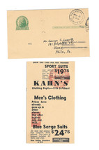 UX27 Postally Used Oddity Miscut 1934 Advert Promo Phila PA Olney Statio... - $24.50