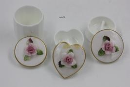 Three Coalport Bone China Trinekt box Sculpted Pink Rose On Lid Gold Rim  - $30.00