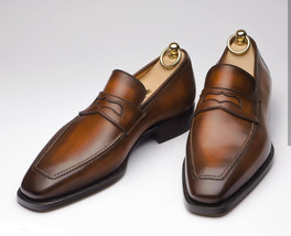 Men's Wedding Fashion Shoes, Brown Color Loafer Leather Shoe, Men's Slipper Shoe - $144.99+