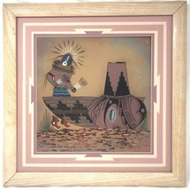 NATIVE AMERICAN INDIAN NAVAJO SAND PAINTING 18 X 18 SIGNED FRAMED ART - $107.99