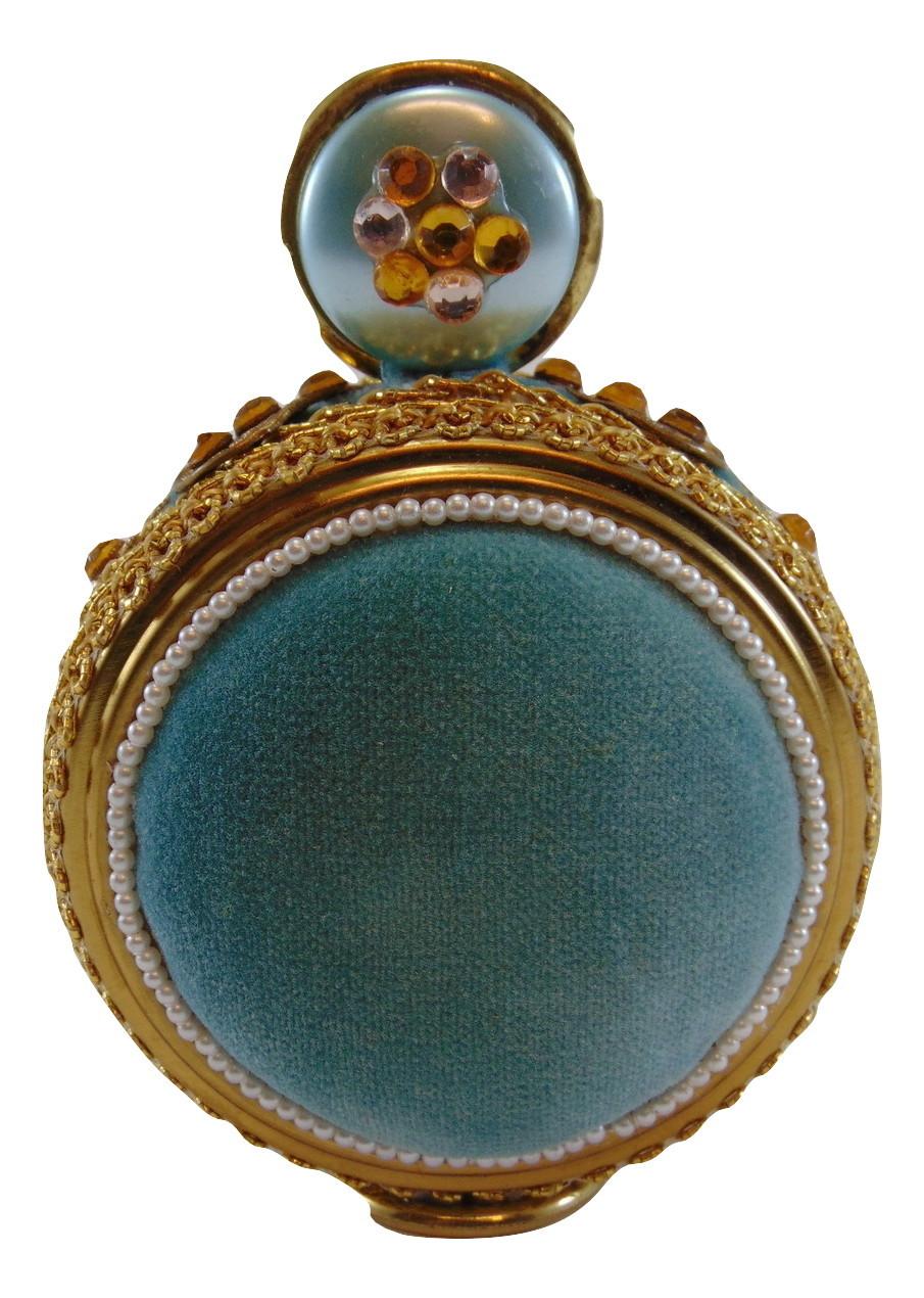 1950s Sewing Pin Cushion ornate aqua velvet free standing ROUND