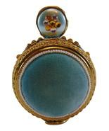 1950s Sewing Pin Cushion ornate aqua velvet free standing ROUND - $29.99