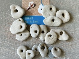 15 Natural Hag Stone Assortment 0.5-1.50 in. Holed Raw Wiccan Holey rock... - $34.55