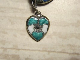 Vintage Sterling silver enameled puffy heart charm- TURQUOISE & WHITE pansy - $24.00