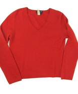 ANN TAYLOR Size M Red V-Neck Cashmere Saturday Sweater - $14.99