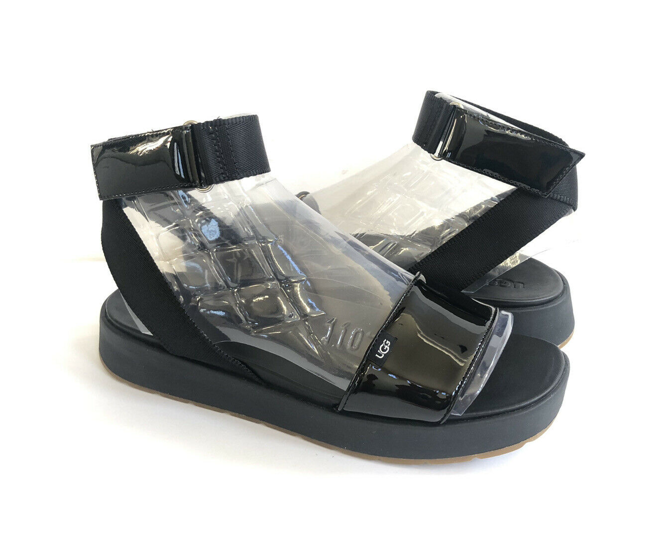 Primary image for UGG LENNOX BLACK PATENT LEATHER ANKLE STRAP SANDALS US 7.5 / EU 38.5 / UK 5.5