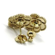 18K YELLOW GOLD BOTTON FLOWER DAISY EARRINGS 14 MM, DOUBLE LAYER WORKED MIRROR image 7
