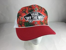 Vans Off The Wall Red Garden Theme Trucker Snap Back Hat - $14.68