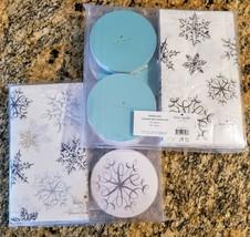 Kate Spade Snowflakes 20 Coaster Napkin Set Silver,Gold,Turquoise NIB W/... - $18.99
