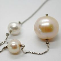 18K WHITE GOLD LARIAT NECKLACE, VENETIAN CHAIN WHITE & PEACH BIG PEARLS 16 MM image 3