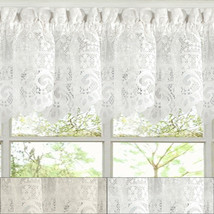 "Hopewell Heavy Floral Lace Kitchen Window Curtain 12"" x 58"" Valance - $11.09"