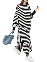 Casual Women Crew Neck Batwing Sleeve Striped Black Long Sweatshirt Dress - $44.12