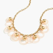 NWT J CREW White Gold Beaded Vintage Shell Hoop Statement Necklace - $29.99
