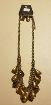 Paparazzi Short Necklace & Earring Set (New) #717 Brass Curled Charms - $7.61
