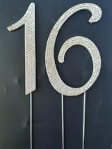 # 16 Rhinestone Crystal Cake Topper Silver Number Wedding Birthday Anniv... - $23.70