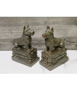 Pair Heavy Scotty Dog Sitting on a  Brick Wall Bookends Scottish Terrier... - $43.56