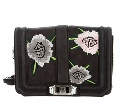 Rebecca Minkoff Small Love Embroidered Nubuck Crossbody Bag - Black - $98.01