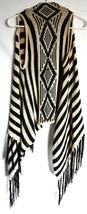Full Tilt Black & Tan Striped Sleeveless Fringed Boho Sweater Vest Size S image 2