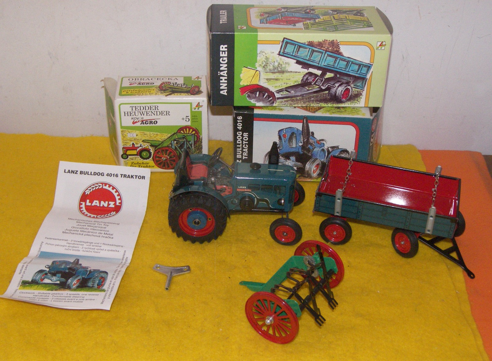 Vintage Tractor / Trailer / Swather Rake Wind-Up Toy (All New Boxed )