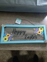 "Happy Easter Wall Decor~Hanging Sign~Blue Distressed Wood~12""x5""~New~Shi... - $14.73"