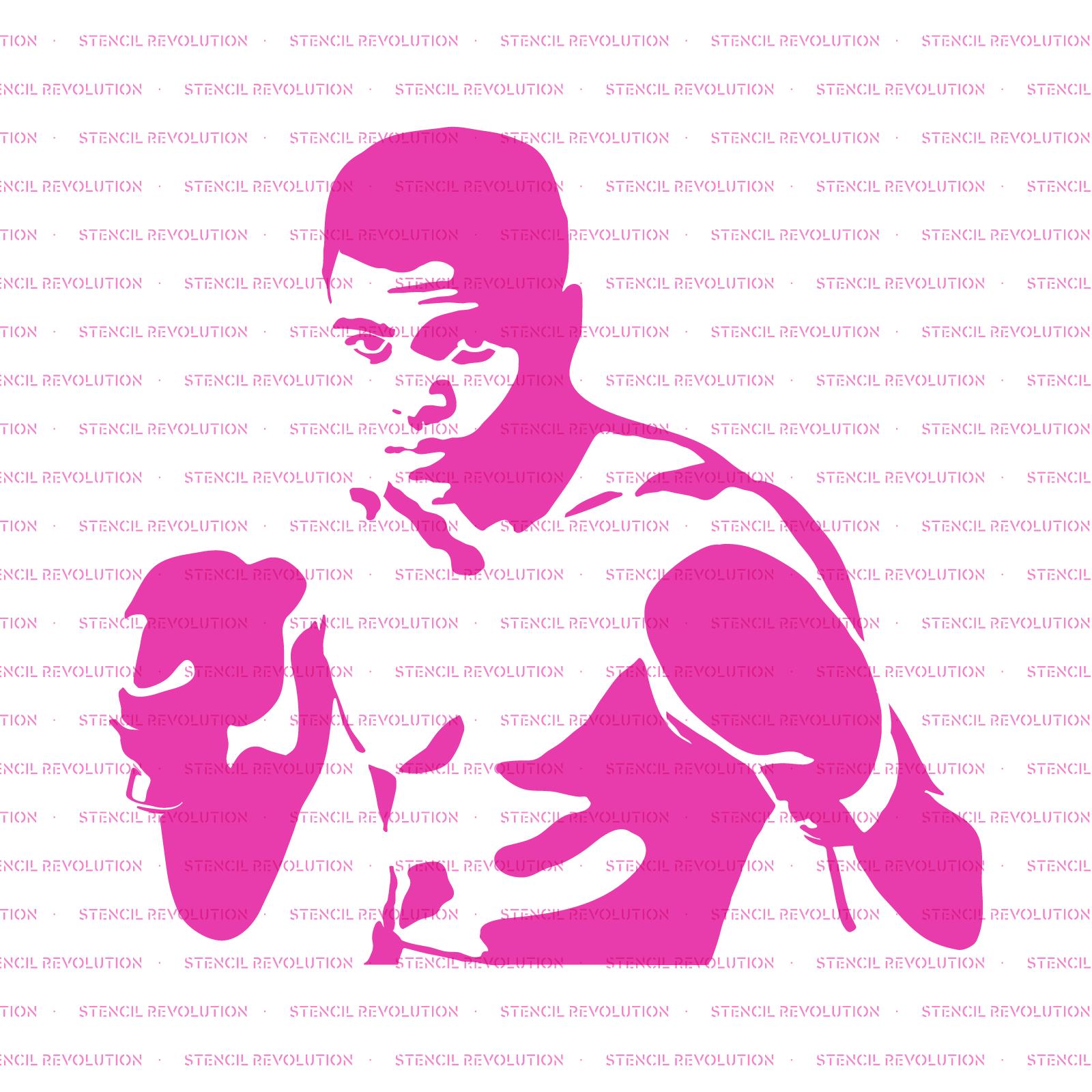 Muhammad Ali Stencil - Reusable Stencils of Muhammad Ali in Multiple Sizes