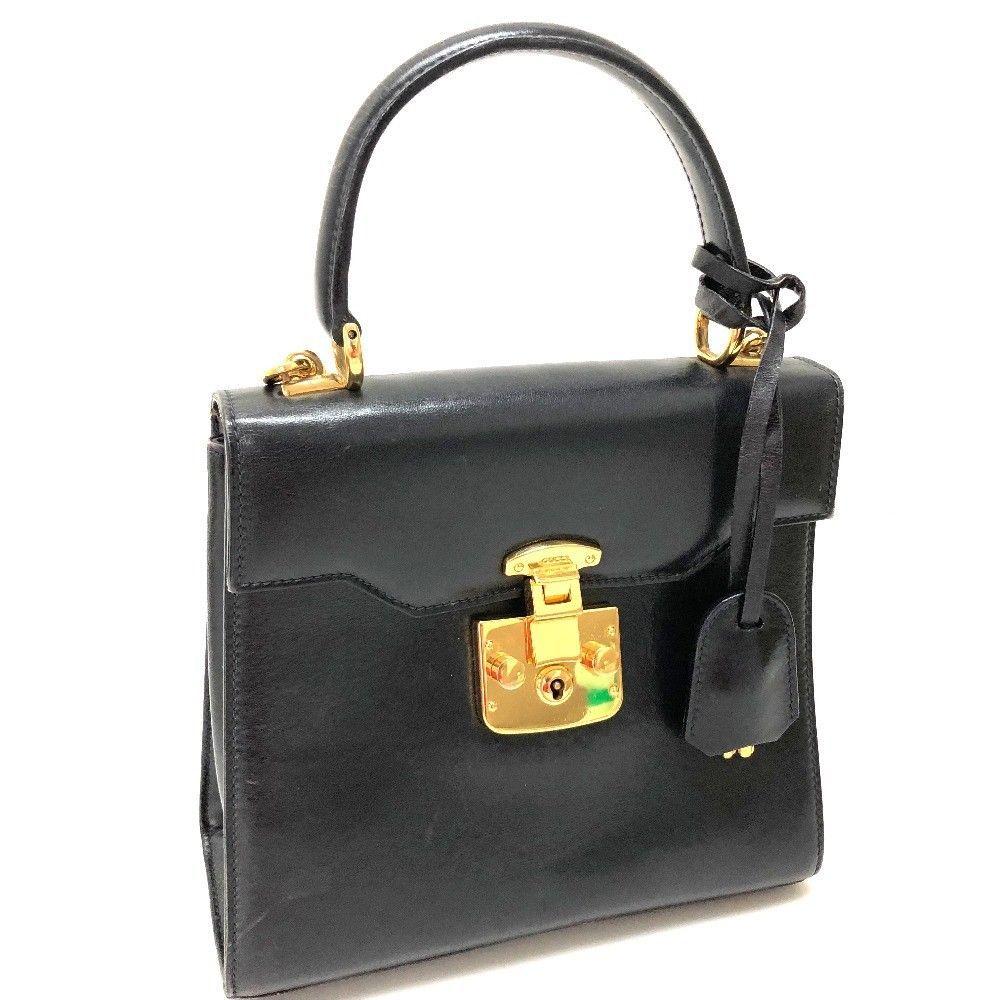 d858bf0a261 AUTHENTIC GUCCI Vintage 2 Way Bag Hand Bag Shoulder Bag Navy Leather -  £430.48 GBP