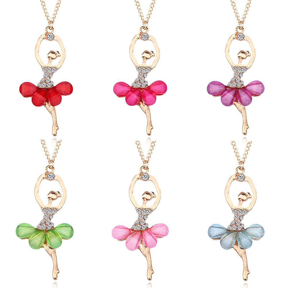 Primary image for DreamBell Women Golden Color Ballerina Girl Necklace Exquisite Shimmer Rhineston