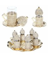(SET of 6)Turkish Tea Glasses Set Saucers Holders SpoonsDecorated with S... - $89.00